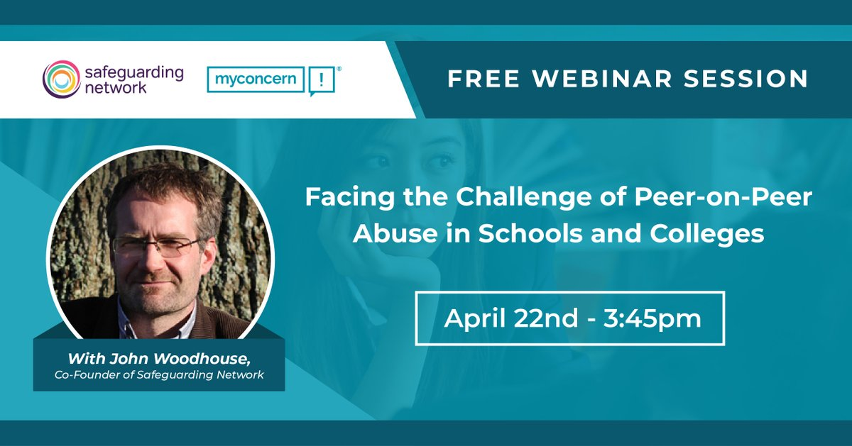 Join us with John Woodhouse, Chair of Governors and former Senior Manager for #ChildProtection Services, to find out what your #school needs to do to address and prevent #peeronpeerabuse. Register for 22nd April at 3:45pm here http://ow.ly/hs8f50yXvLX  @UKpastoralchat @ukedchat RTpic.twitter.com/DaLU4CSFLs