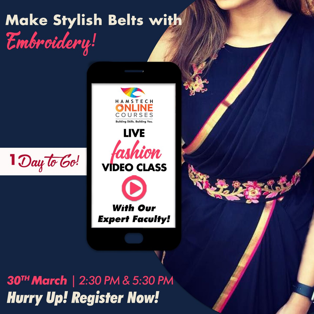 Hunar Online Courses On Twitter Just One Day To Go Now Utilise Your Time At Home And Be A Part Of Hamstechonline S Fashion Live Class Tomorrow And Learn To Design Beautiful Embroidered