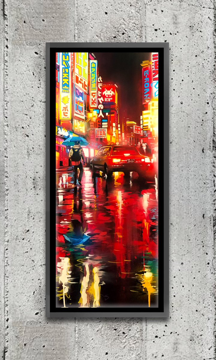 'Shinjuku' - original canvas painting / 40 x 16 inches / spray paint and acrylic currently available pic.twitter.com/7p9NBPsY7c