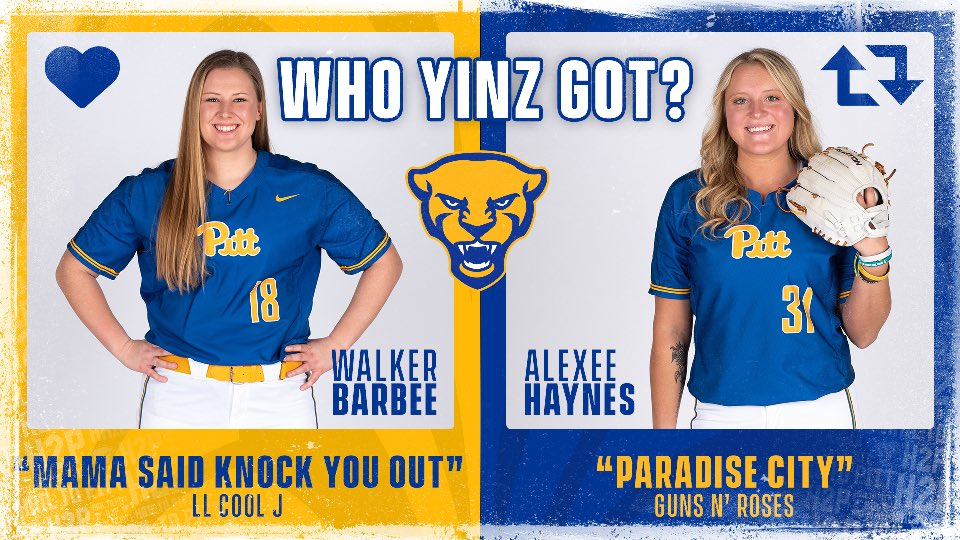 Another round of Who Yinz Got, this time with our two seniors @BarbeeWalker & Alexee Haynes!  Are you feelin' @llcoolj 😎 or @gunsnroses' Paradise City? 🎸   Click here for the WhoYinzGot playlist: http://spoti.fi/2UDX5zk  💙 for Walker or 🔁 for Alexee  #H2P | #WhoYinzGot