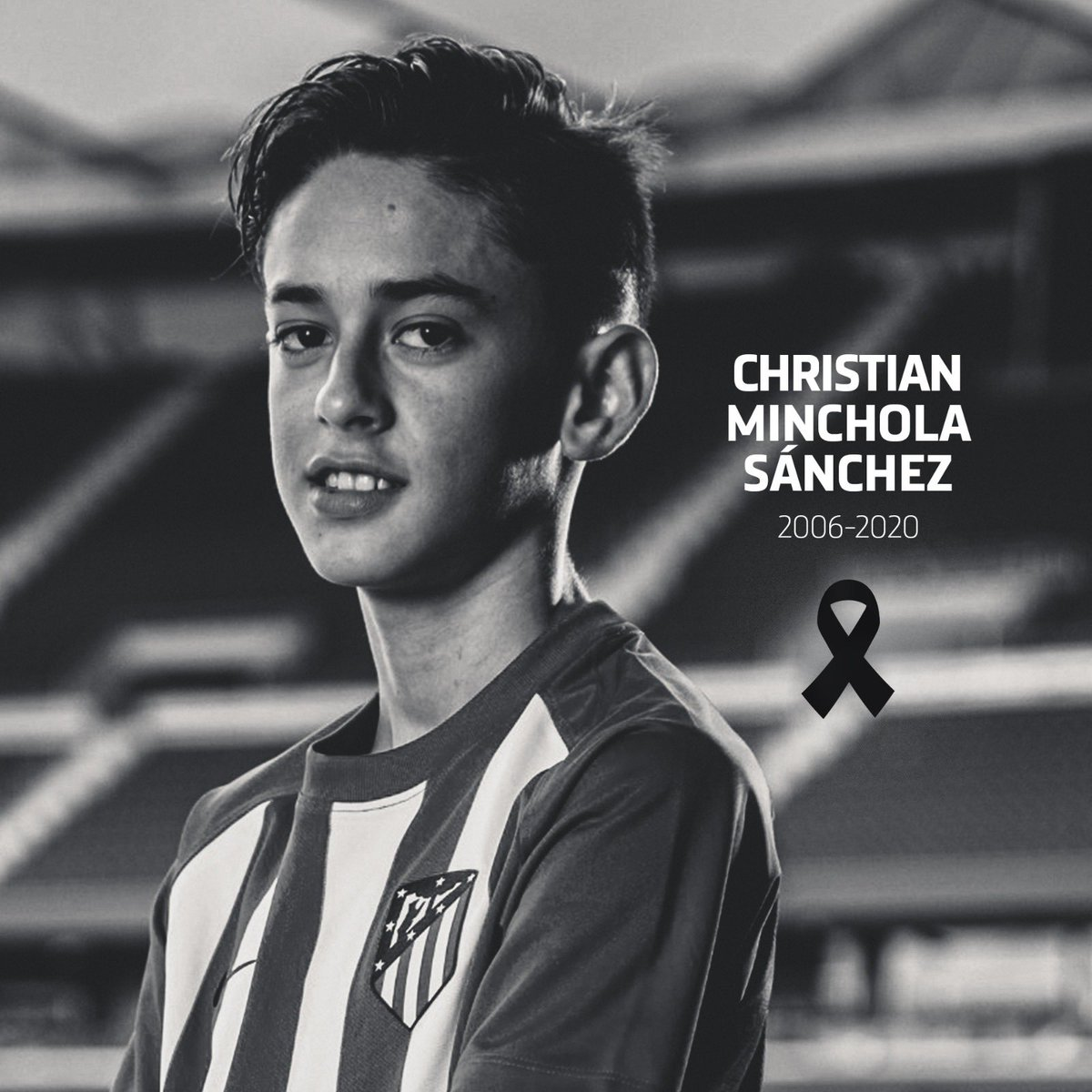 Atlético de Madrid is mourning the passing of our U14 player Christian Minchola. We join in the grief of his family, teammates and friends. May he rest in peace.