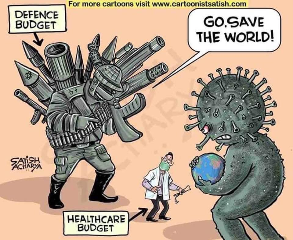 Hopefully now world should decide the real budget. Healthcare Budget is more important or Defence budget. I think its last chance to understand.  #Corona #CoronisedWorld_Media_IOK #coronavirusinpakistan<br>http://pic.twitter.com/BABREbxQwN