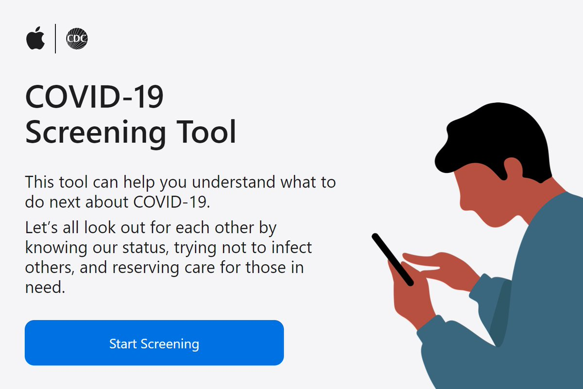 Interactive #COVID-19 Screening Tool now available. @Apple has partnered with the @WhiteHouse, the @HHSGov , and @CDCgov to develop Screening Tool, (also as app http://Apple.com/COVID19 ) Tool guides users through a set of questions & gives CDC recommendations #kyletx pic.twitter.com/ykLFYGw2cf
