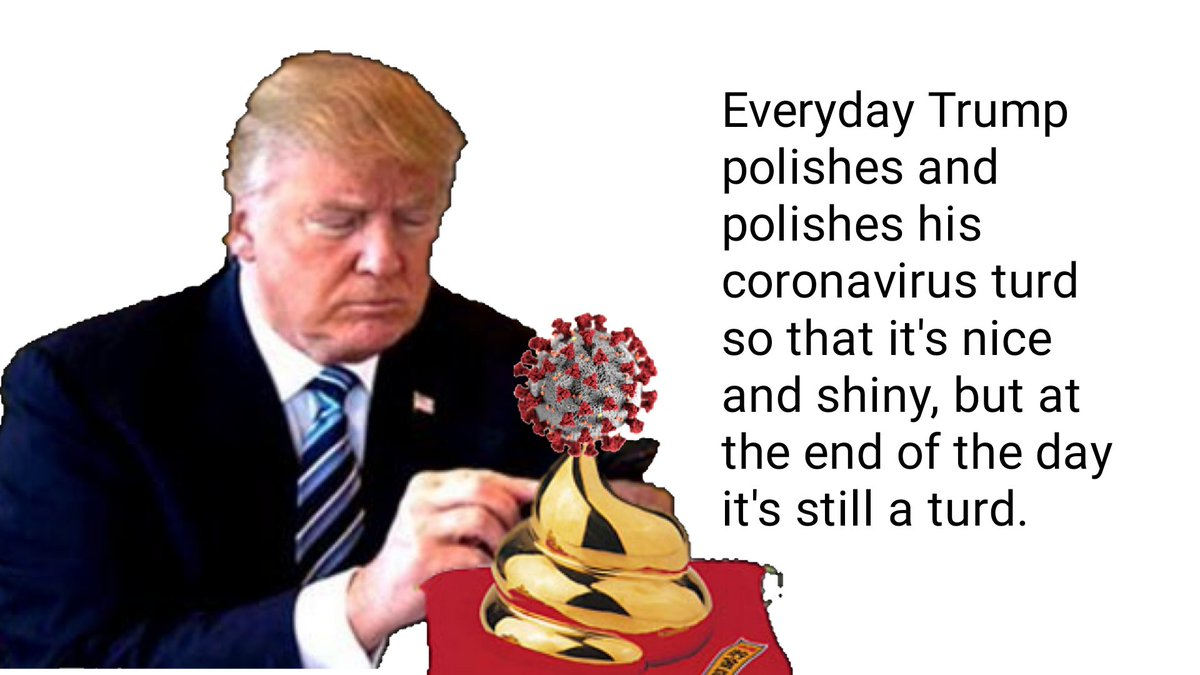 Everyday poor Donald polishes and polishes his coronavirus turd so that it's nice and shiny! But at the end of the day it's still a turd!  The question is; How many Republicans will pay the ultimate price with their lives because of Trump's late #Coronavirus Response Blunder?