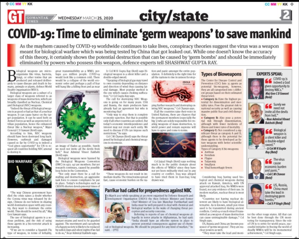 "Gomantak Times on Twitter: ""The mayhem caused by outbreak of #COVID2019  across the world has heightened the need for @UN to get the world's most  powerful countries to eliminate all #BiologicalWeapon systems,"