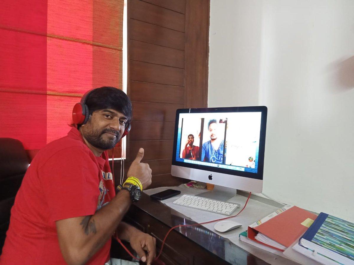 Lockdown outside 🔒... No problem!  The Music Sittings of #18Pages Happening through #WorkFromHome on video calls between Director @dirsuryapratap , @GopiSundarOffl and Team!  #AlluAravind @actor_Nikhil #BunnyVas @aryasukku @GA2Official @SukumarWritings #StayHomeStaySafe