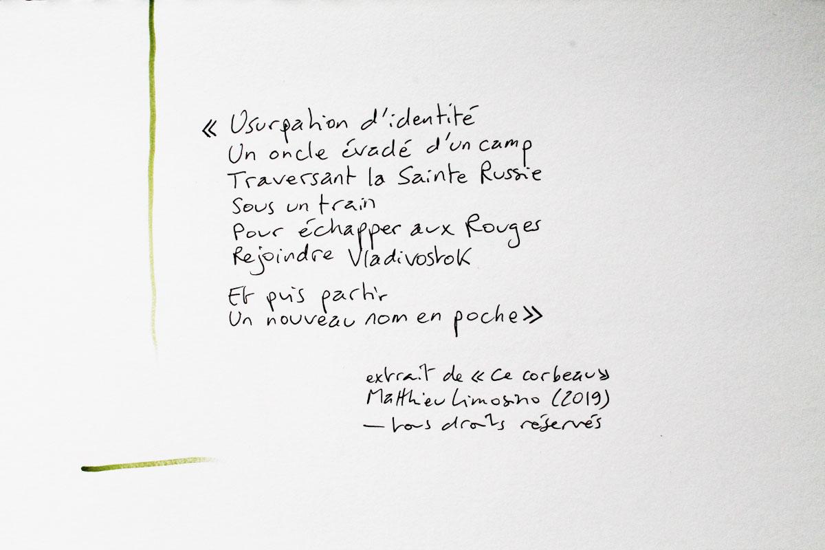 Extrait de « Ce corbeau » (2019). Ce texte fait l'objet d'un dépôt à la Sacem. #Limosino #poésie #poème #écriture #poem #poetry #citation #carnet #création #Russie    #vladivostok #Romanov #communismepic.twitter.com/UB22sjz6CQ