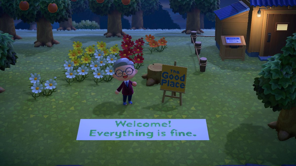 The Good Place Island got a new flag and airport welcome sign today #AnimalCrossing