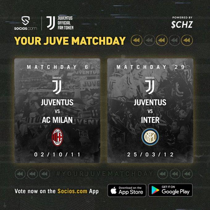 ステップ1:@socios アプリをダウンロード ➡️ http://bit.ly/SociosJuve  ステップ2:#JuveMilan か #JuveInter に投票 🗳  ステップ3:明日の日本時間23:00に #YourJuveMatchDay のために http://Facebook.com/Juventus に集合  ステップ 4:エンジョイ!👌🍿