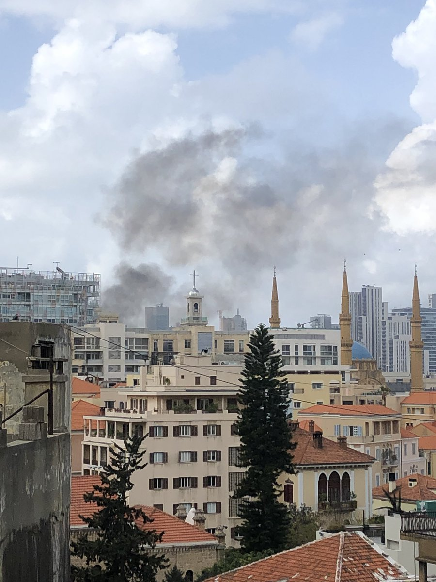Anyone know what seems to be on fire in downtown Beirut? #lebanon #beirut