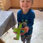 Jasper in Kindergarten is very proud of his Lego airplane and is taking it everywhere around the house including bath time and bed time. #homelearning #remotelearning #learningfromhome #schoolawayfromschool #longacreschool #LongacreLife