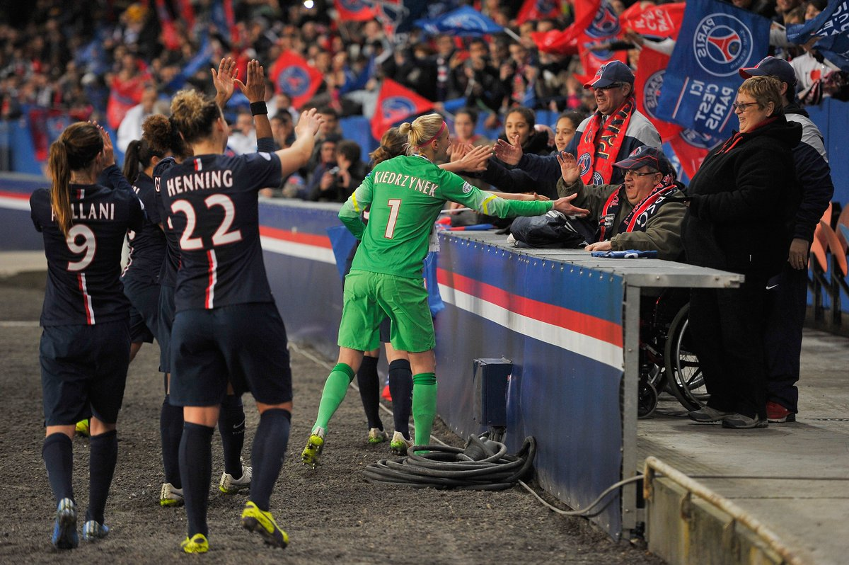 On this day in 2015⏪ .... @PSG_Feminines beat fellow first-time #UWCL quarter-finalists @GlasgowCityFC at Parc des Princes🏆