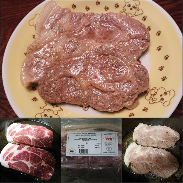 【男の自炊シリーズ】  SPIでゲットしてたハンガリーの食べられる国宝の #マンガリッツァ豚 で、ポークステーキ。 シンプルに塩コショウで。 美味しかった♪(*^▽^*) #SPI は #佐野プレミアムイタリアン の略です。  #ハンガリー #豚肉 #塊肉 #国宝 #ポークステーキ #ポーク pic.twitter.com/Wc35TMxp7v