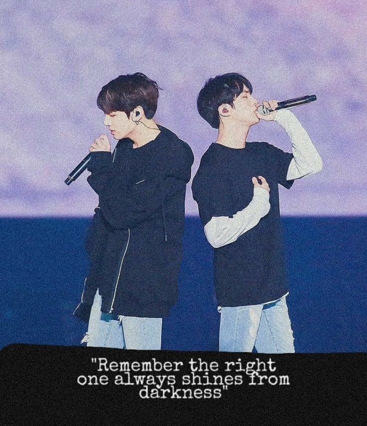 """Remember the right one always shines from darkness"" ""The right one, The right vibe can create magic"" Quote cr. @evenfallpoetry Edit cr. Me . . #jinkook @BTS_twt  #BTS #NAMJOON #TAEHYUNG #JIMIN #JIN #JHOPE #SUGA #JUNGKOOK  #BTSARMYpic.twitter.com/jL1cWDm4e5"