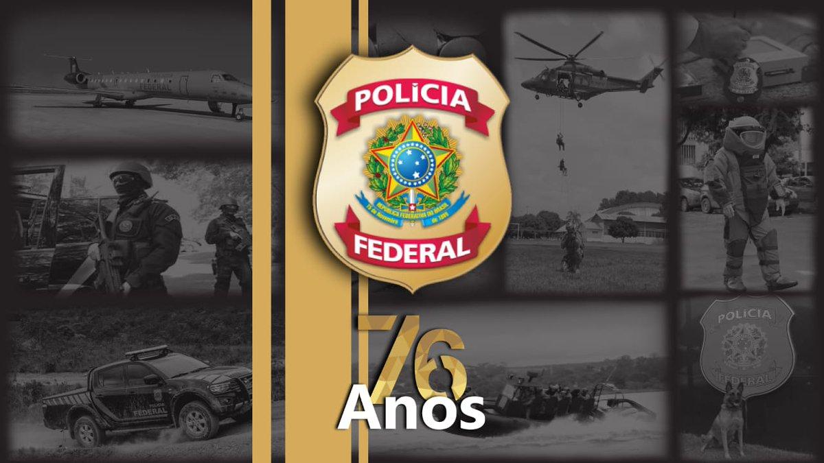 Hoje a PF completa seu 76° aniversário. Mais um ano de muita dedicação e responsabilidade atuando na segurança pública para a preservação da ordem e do bem-estar da população! #PF76 #SomosTodosPF