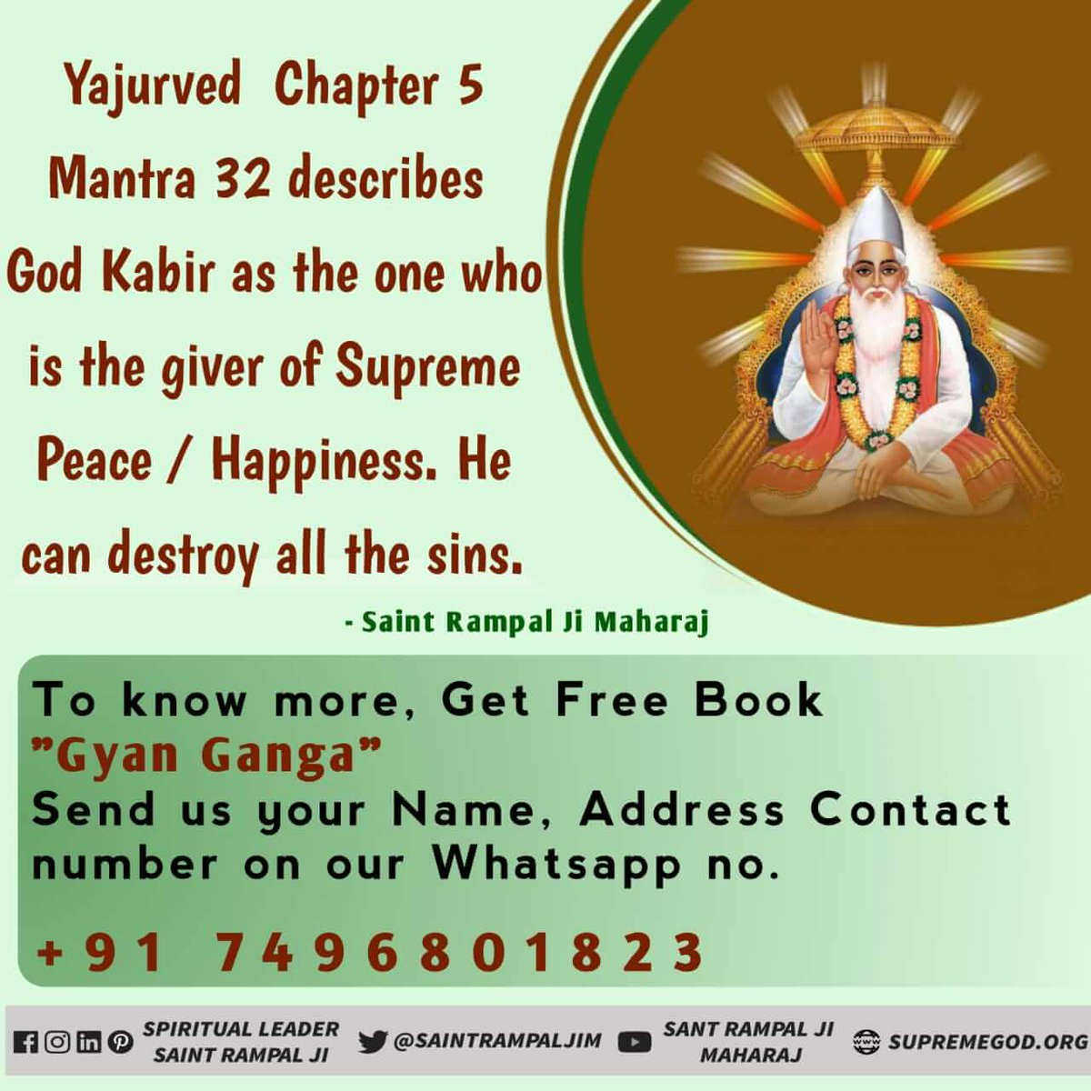 #पूर्णगुरु_का_अनमोल_सत्संग God Kabir is the Destroyer of all Sins -- Yajurved Chapter 5 Mantra 32.  To know more, Read Free Book 'Gyan Ganga'. <br>http://pic.twitter.com/t6Z1fScobW
