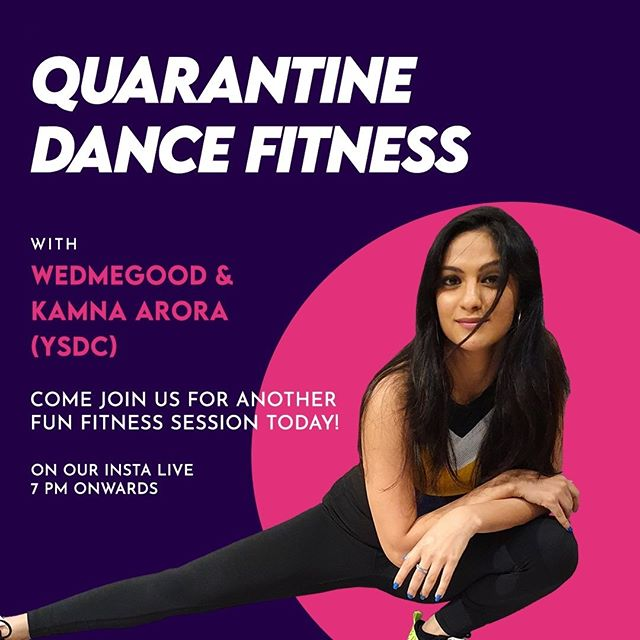 We are back with a #quarantine dance fitness today. Kamna Arora from YSDC Wedding Choreography will be taking over our instagram live at 7pm. Dont forget to tune in. . . #quarantineandchill #quarantinefitness #dancefitness #stayathome #quarantineactivities #wedmegood pic.twitter.com/ClqZh3esug