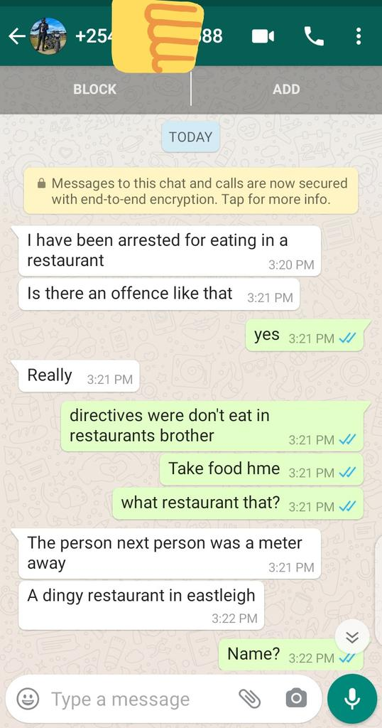I'm sorry guys. I have to be brutal. I must tell you the truth. If you don't adhere to the directives you should be arrested. I will tell you so. Also I will be here to help shout should they violate your rights. @NPSOfficial_KE Wamtams Food Court must be closed #coronaviruskenya <br>http://pic.twitter.com/UUYXhAyvPc