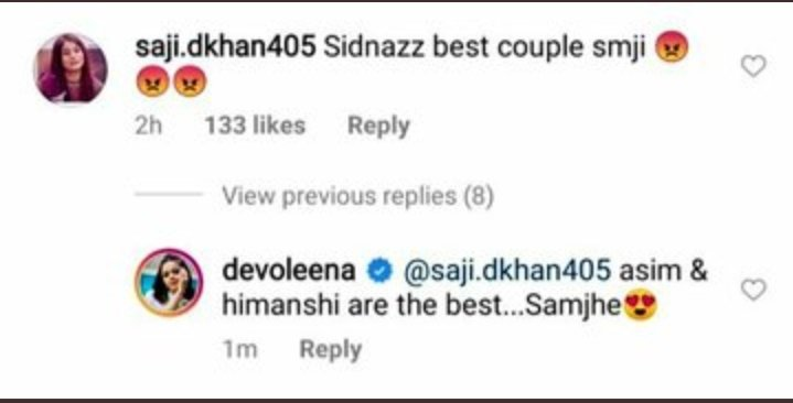 Asimians are you with @Devoleena_23  Look at what a Savage replied from #Devoleena To haters  #AsimRiaz #SavageDevo<br>http://pic.twitter.com/vXUiCn8Ulo