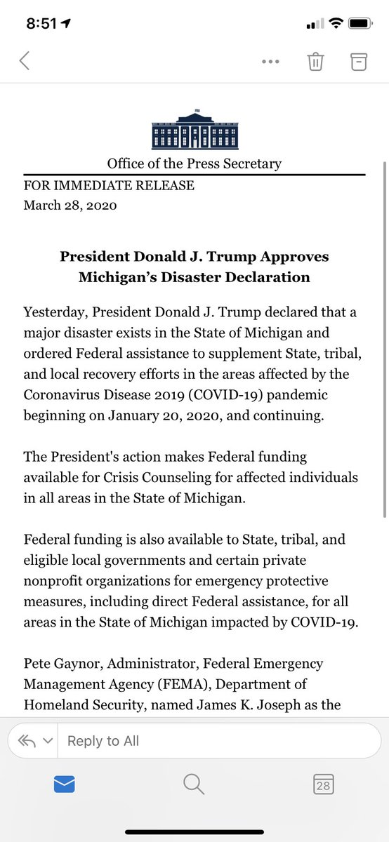 Trump has approved a Michigan disaster declaration: