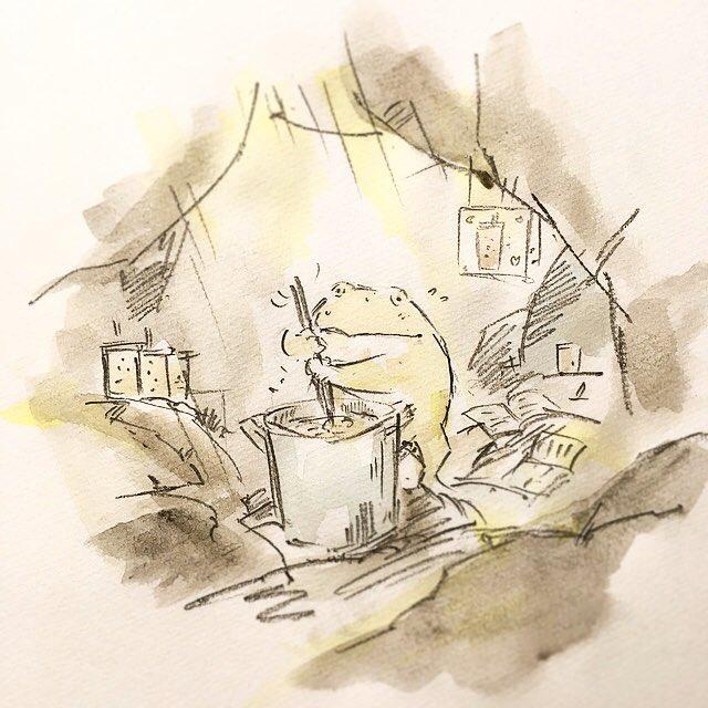 自宅待機中に新作を作るタピオカガエル。
