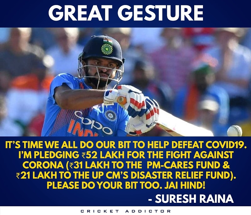 Proud of you champ  #SureshRaina #CoronaUpdate #StayHome #StayHomeSaveLives #Covid_19 #TeamIndia <br>http://pic.twitter.com/buqGZrWybQ