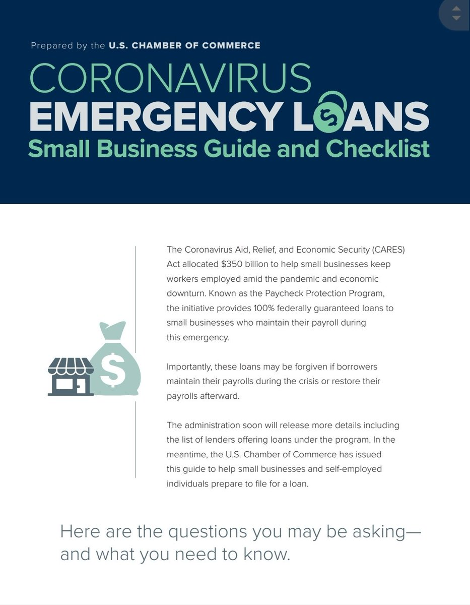 If you work in the Gig Economy, are a 1099 worker,a 1 person business, independent contractor , work for hire, self-employed, YOU ARE ELIGIBLE FOR A  PAYROLL PROTECTION LOAN along with any business with less than 500 employees, see the attached graphics from @USChamber https://t.co/kDDcCeFPPC