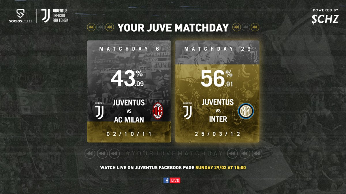 Bianconeri, the results are in.   You have decided to relive the best moments from the 2011/12 Derby d'Italia victory against Inter.   Tomorrow, tune in to the official Juventus Facebook page at 15:00 for #YourJuveMatchDay ⚪⚫