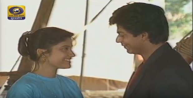 WATCH NOW!  @iamsrk in his early avatar as #Shekharan with @renukash in #Circus a blockbuster TV show ONLY on @DDNational. #Doordarshan