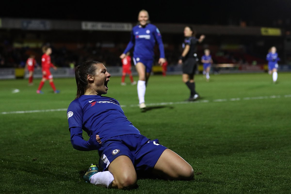 On this day in 2018⏪  @ChelseaFCW defeated @MontpellierHSC 3-1 to reach their first #UWCL semi-final with goals from @frankirby and @bachmannr10⚽⚽⚽