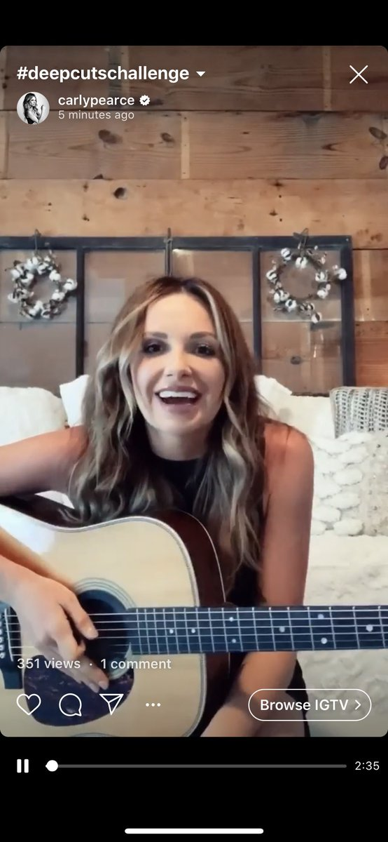"""Alright @TheTimMcGraw here ya go!  I have loved #pattyloveless since I was a little girl. Here's her song """"Sorrowful Angels"""".. I now challenge my buddy @blakeshelton to the #DeepCutsChallenge — Blake, let's see what ya got! Full link to my cover here —> https://www.instagram.com/tv/B-R8SpqFQ-7/?igshid=1lwdnnl2zsfjm…"""