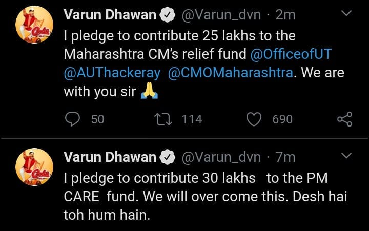 .@Varun_dvn joins the Covid-19 fight with Rs 25 lakhs donation to the CM's relief fund and Rs 30 lakhs donation to the #PMReliefFund