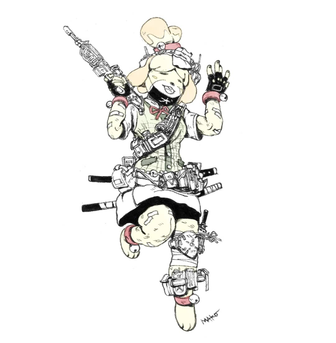 Seems like a perfect time to repost this MAKO X ANIMAL CROSSING (ISABELLE) #art #AnimalCrossingNewHorizons  #isabelle #animalcrossing  #fanart #guns #brushpen<br>http://pic.twitter.com/Rrnv1tIWvg