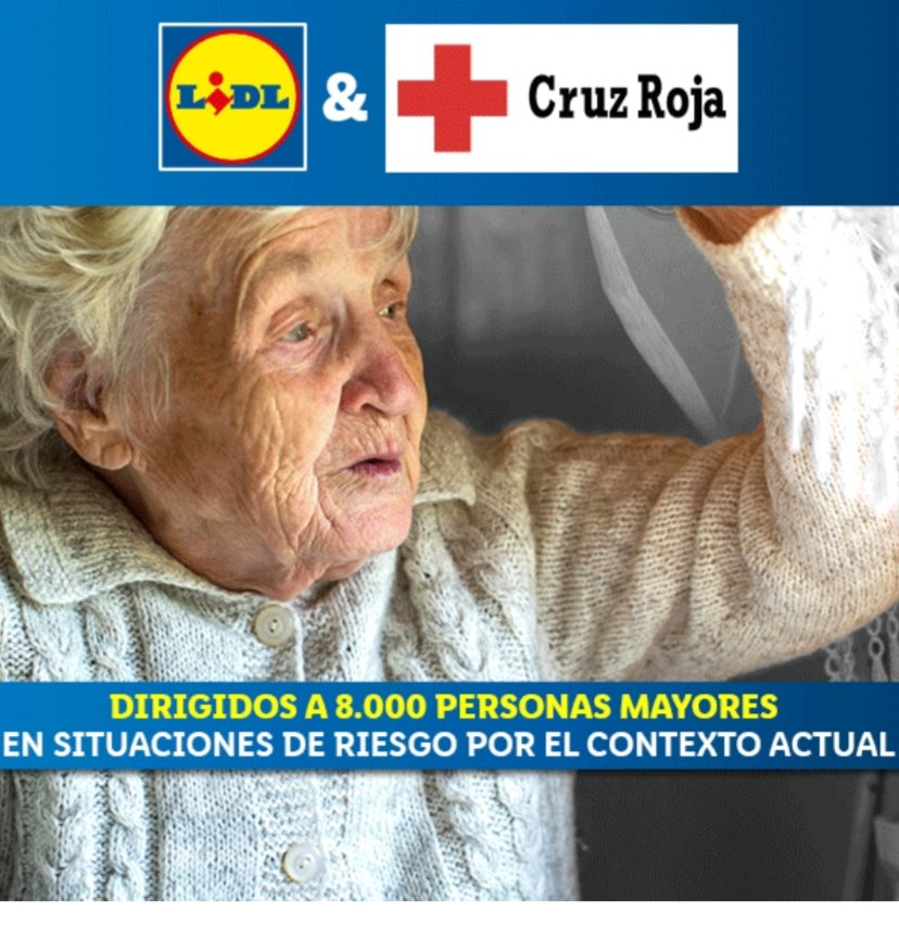 Lidl and with the help of the Red Cross Spain (Cruz Roja) are going to distribute 100,000 kilos of food to 8,000 elderly people who live alone and who, due to their state of health, cannot go shopping due to covid 19 #Spain pic.twitter.com/usF4w7YLFX