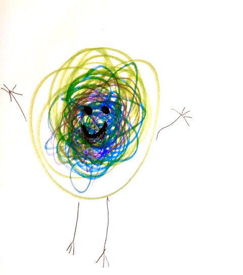 #StudentSpotlight Only good vibes from this scribble character by a kindergarten artist!  Love the movement and color mixing! Stay creative! @HTS_Dolphinspic.twitter.com/WHAODiEkO1
