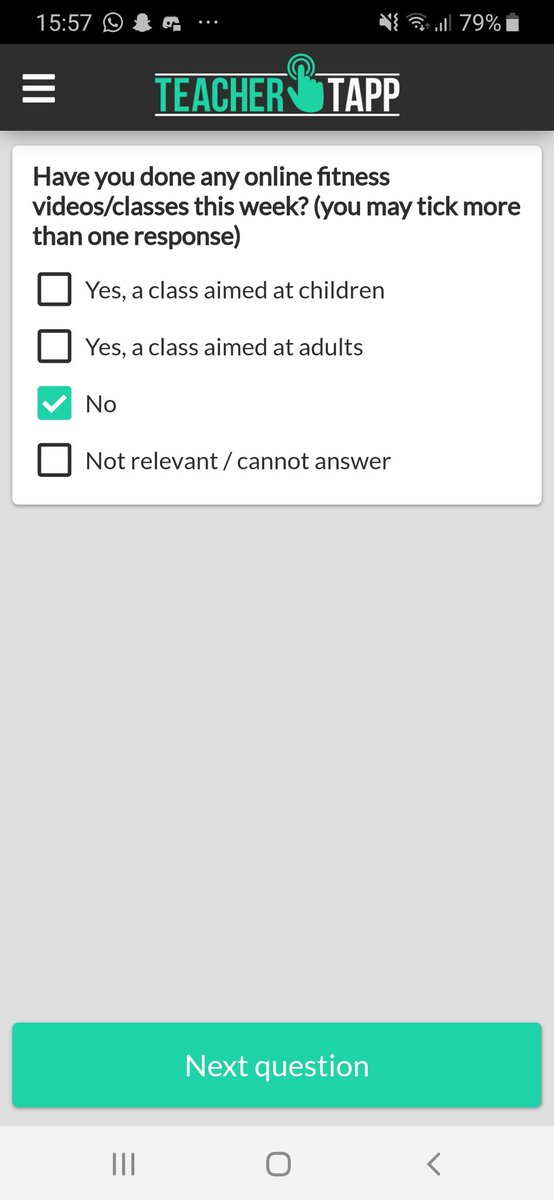 Just the one response today @TeacherTapp 😬🙈