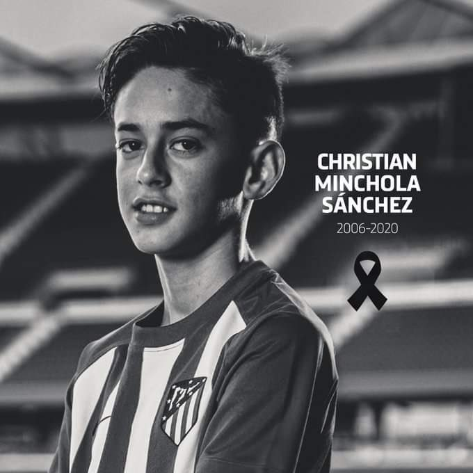 Atlético Madrid's youth striker Christian Minchola Sánchez tragically passed away today at the age of 14.  The Estadio Metropolitano will hang the Atlético flag at half mast to mourn his death.