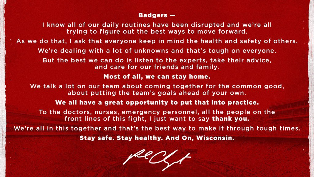 We're all in this together. #OnWisconsin