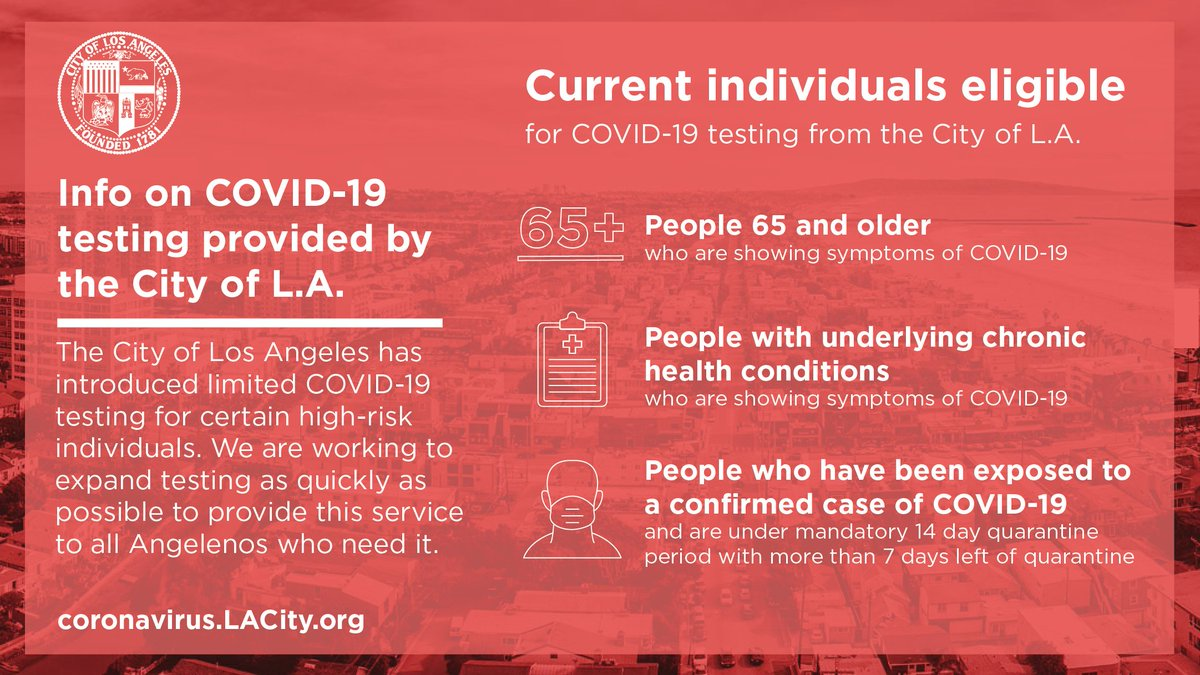 If you are age 65 or older or have a chronic underlying medical condition, and have symptoms such as cough, shortness of breath or fever, you can get free testing for COVID-19 today. Learn more and make an appointment at http://Coronavirus.LACity.org/Testing.  Share this and help save lives.pic.twitter.com/SI82A1aqS1