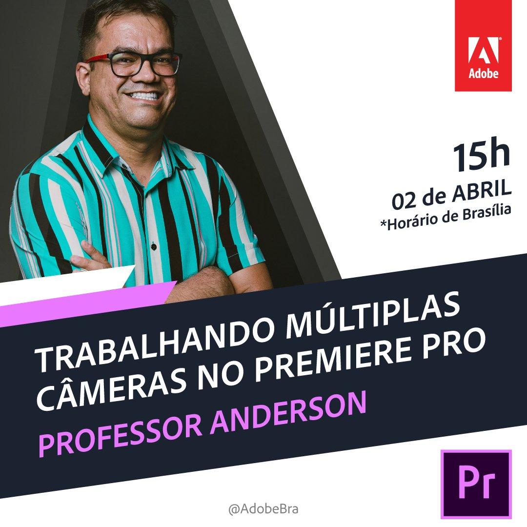Quinta-feira tem #AdobeDayBrasil, o nosso webinar gratuito. Nesta semana, trouxemos o Professor Anderson para falar sobre como trabalhar múltiplas câmeras no Premiere Pro! Chame todo mundo!  Chame os amigos! Inscrições abertas:  https://adobe.ly/2Q0kokg.