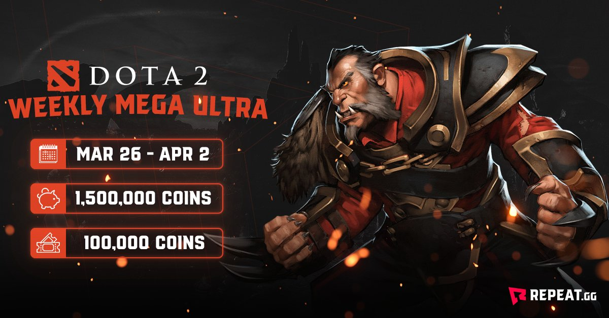 Step up to the challenge in this week's Mega Ultra. 100,000 entry, only the strong survive.   🕹Game - @DOTA2 🥇1st place - 400,000 coins 🔗Link - https://bit.ly/2UErYDQ  #Dota2 #Dota #MOBA #esports