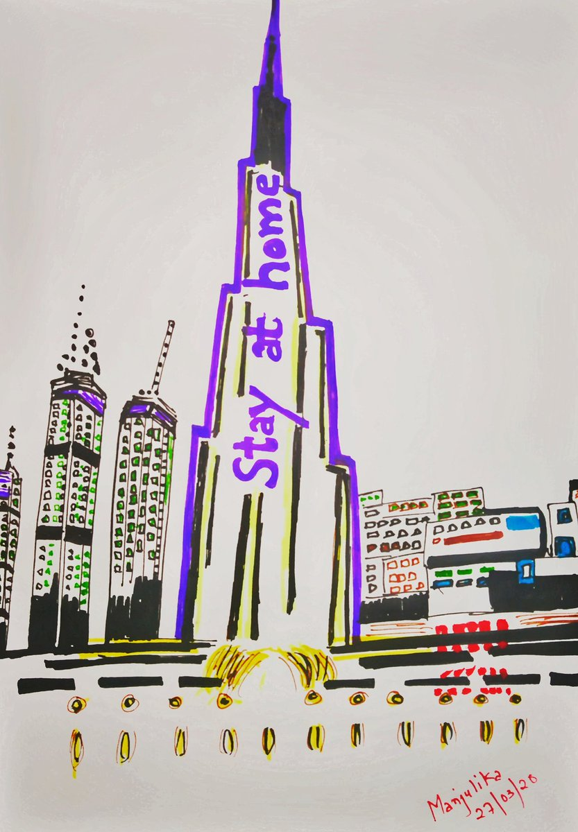 STAY AT HOME -  The highest building of the world said it in its own style, in many languages.  This illustration is inspired by the World's tallest building in #Dubai, Burj Khalifa when it lighted up with a message to combat coronavirus and made an appeal to 'stay at home'. pic.twitter.com/2IMccE99HL