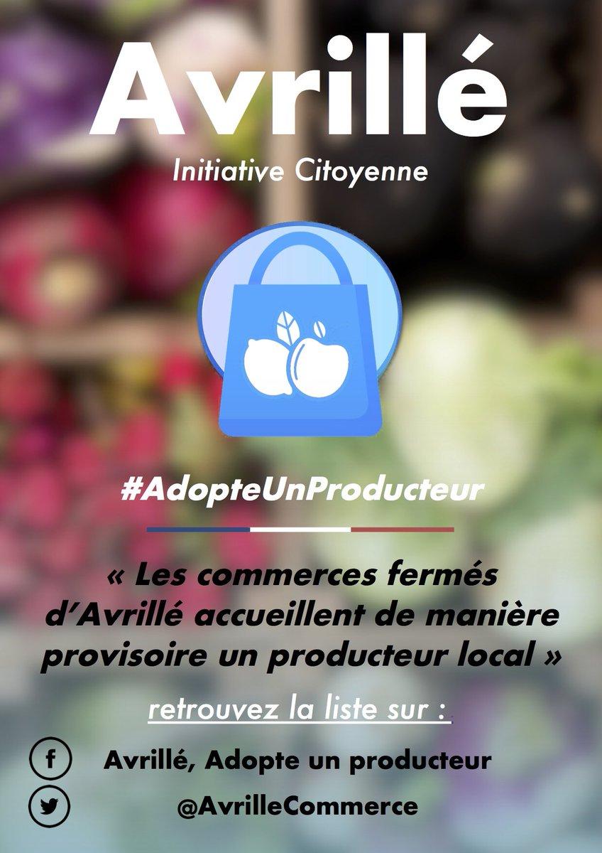 Des points de vente pour les producteurs locaux vont être organisés dans les commerces fermés à #Avrillé ! #AdopteUnProducteur https://t.co/vBoNSa40ui