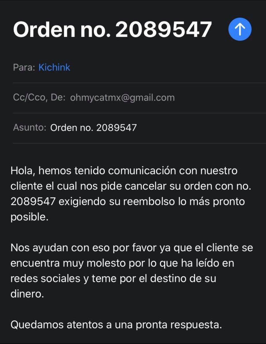 @KichinkAyuda solicito la cancelación y devolución de mi dinero orden 2089547. También el emprendedor la solicitó. Mando foto pic.twitter.com/moBPndEy5u