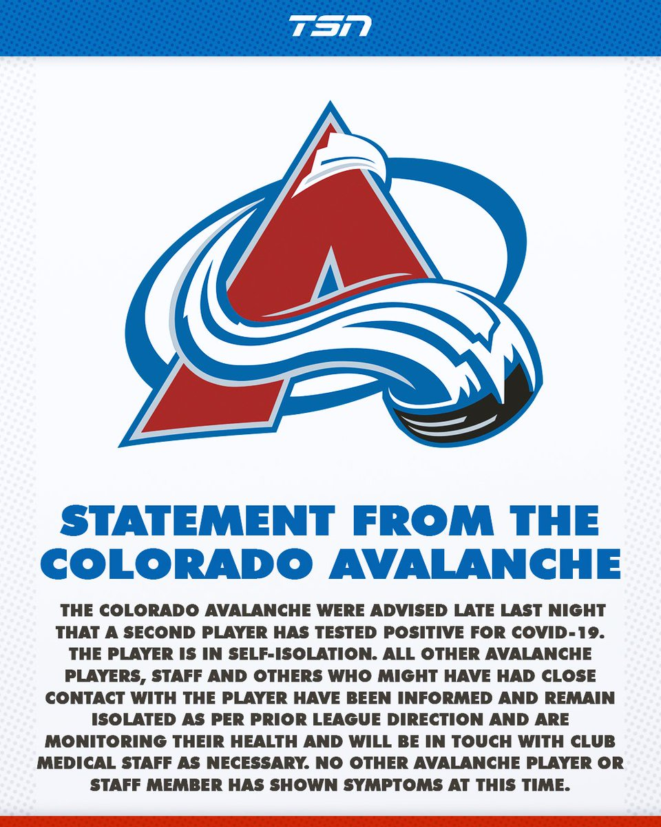 Second Avs player tests positve for COVID-19. MORE: tsn.ca/second-colorad…