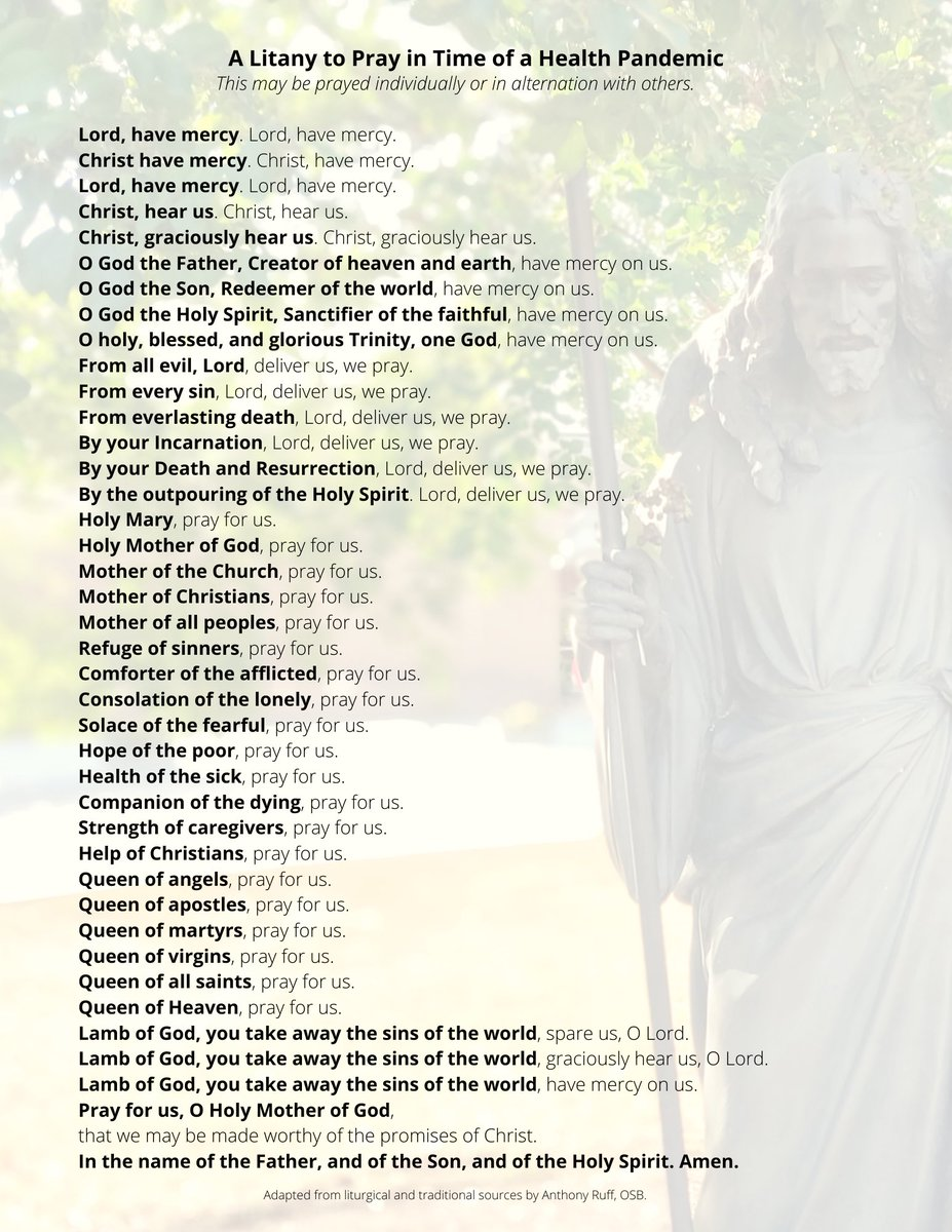 For your prayer time today - either individually or with those around you. #Litany #socialbutnotspiritualdistance #covid19pic.twitter.com/3nu2PUtlBq