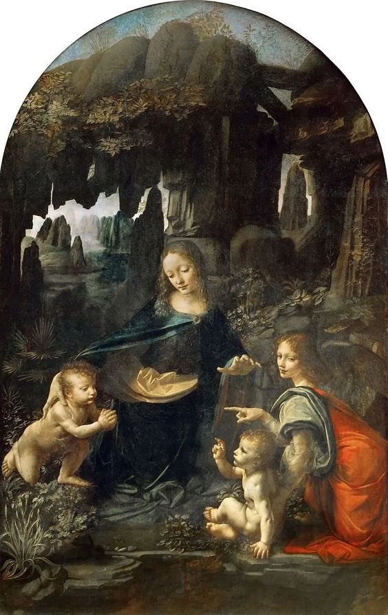 """Qui blâme la #peinture blâme la nature.  Léonard De Vinci """"La Vierge aux rochers de Vinci,illustre cette réflexion provenant de ses carnets : """"c'est à la fois la peur de l'obscurité et le désir de connaître si quelque chose de miraculeux s'y cachait"""", pic.twitter.com/VgKixI8PMr"""