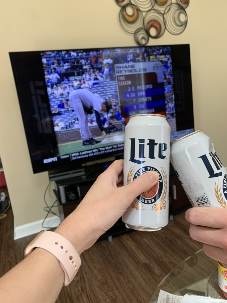 Since baseball isn't in session right now, we're throwing it back old school with our #ChicagoCubs and some @MolsonCoors Miller Lite 😎 #StayHomeStayStrong