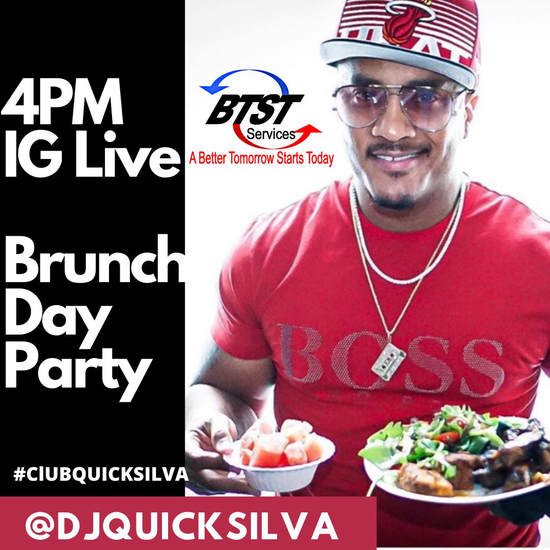 Heads up we running back Brunch/DayParty tomor 4p for #SundayFunday at #ClubQuickSilva .Tune in in on my Ig live ,pass the word #ThePartyKingpin pic.twitter.com/rj6m0qvRMw