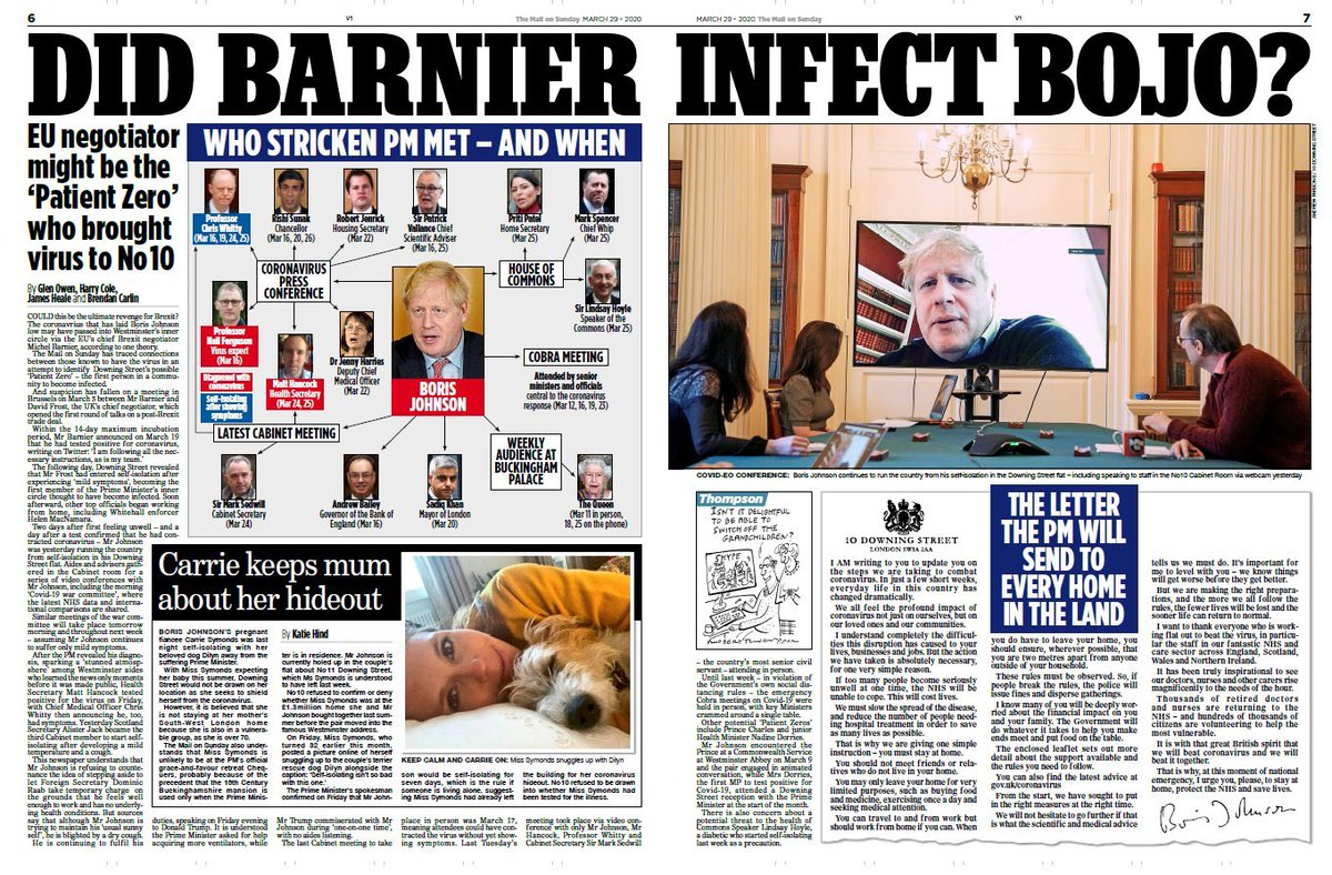 """This is from tomorrow's Mail on Sunday. """"Could this be the ultimate revenge for Brexit?"""" it begins. """"This"""" being the suggestion that Barnier infected Johnson — i.e. it's the EU's fault — that #Covid_19 came to No. 10. That's it: no more bottom to scrape. Utterly despicable."""